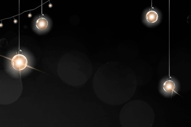Vettore di sfondo nero festivo con luci appese incandescenti