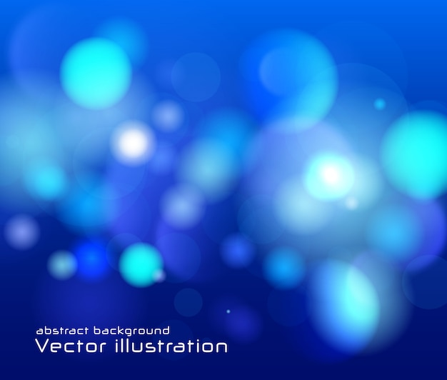 Festive blue luminous background. blurred abstract bokeh
