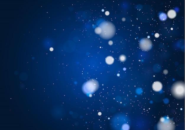 Праздничный синий светящийся фон с красочными огнями. размытые яркие абстрактные боке. концепция. рождественская открытка. волшебный праздник плакат, баннер. ночь ярко-белые искрится светом.