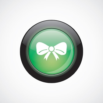 Праздничный лук стекло знак значок зеленая блестящая кнопка. кнопка веб-сайта пользовательского интерфейса