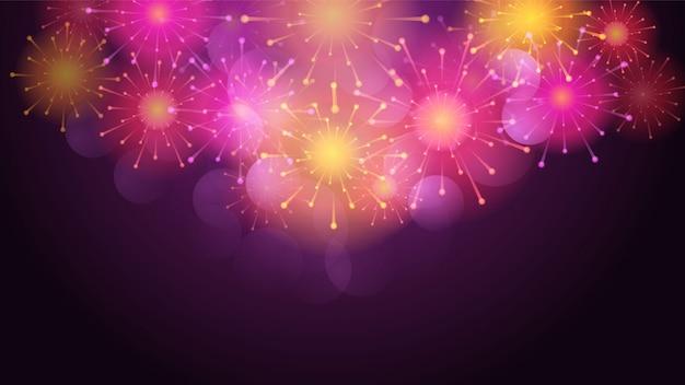 Festive brightly colorful fireworks bursting on blue transparent twilight. background
