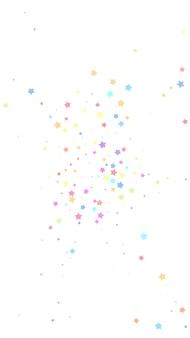 お祝いの華麗な紙吹雪。お祝いの星。白い背景にランダムなカラフルな星。新鮮なお祝いオーバーレイテンプレート。垂直ベクトルの背景。