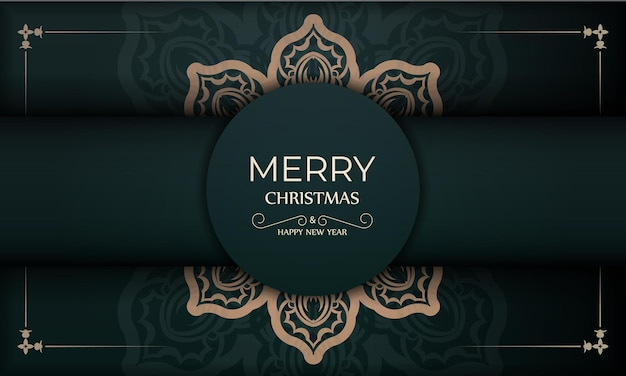 Festive brochure merry christmas dark green with luxury yellow ornament