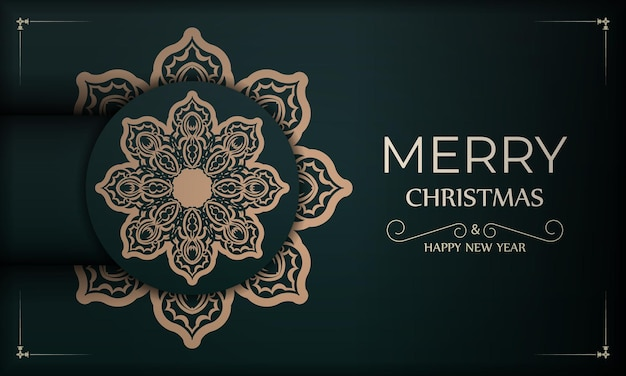 Festive brochure merry christmas dark green with luxury yellow pattern