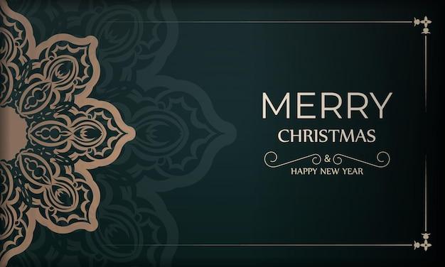 Festive brochure merry christmas dark green with vintage yellow ornament
