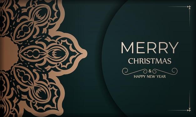 Festive brochure merry christmas dark green with winter yellow ornament