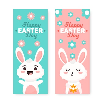 Festive bunny easter day banner collection