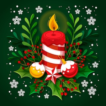 Festive candle with flames and mistletoe