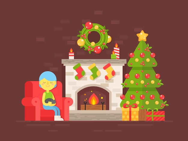 Festive card with christmas tree, fireplace and character