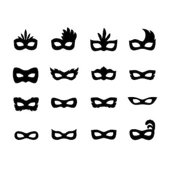 Набор силуэтов праздничных карнавальных масок