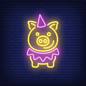Festive cartoon pig in birthday hat. Neon sign element. Night bright advertisement.