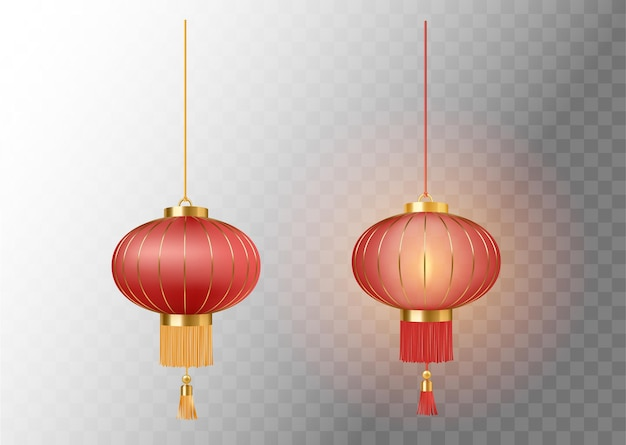 Festive chinese red lanterns set template