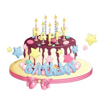 Festive chocolate cake with burning candles.