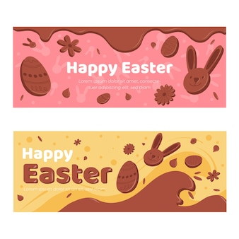 Festive chocolate easter day banner collection