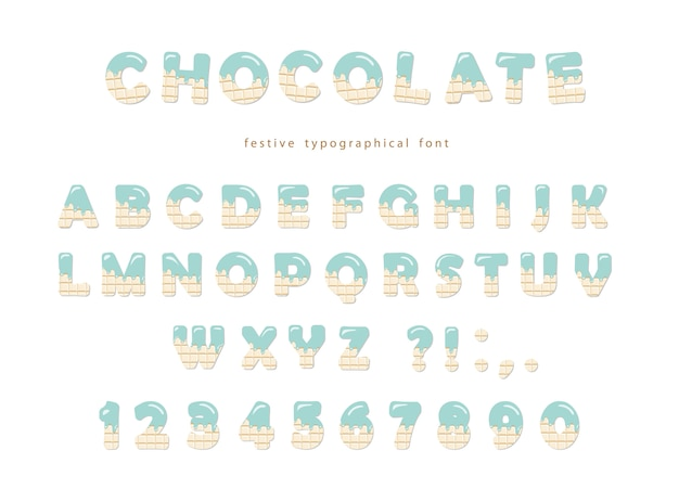 Festive chocolate font. cute letters and numbers isolated.