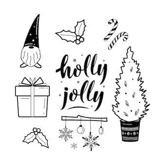 축제 크리스마스와 hygge 클립 아트 아늑한 요소 컬렉션