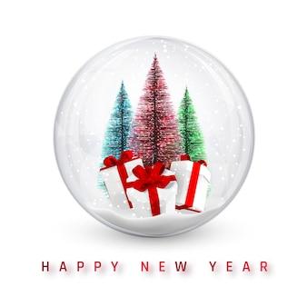 お祝いのクリスマスの背景。クリスマスの松の木と輝くキラキラ光るクリスマスボール。ベクトルイラスト。