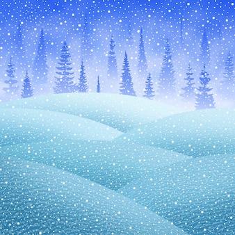 축제 크리스마스 배경, 숲, 눈, 벡터 일러스트 레이 션