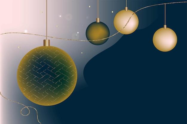 お祝いのクリスマスの背景はがきの招待状のグラデーション新年のボールブルーとゴールドの色