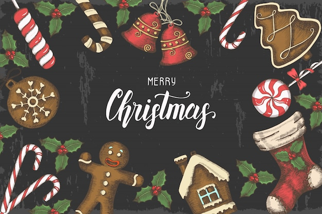 Festive christmas background with hand drawn holly leaves, bells, gingerbread, and christmas sock.