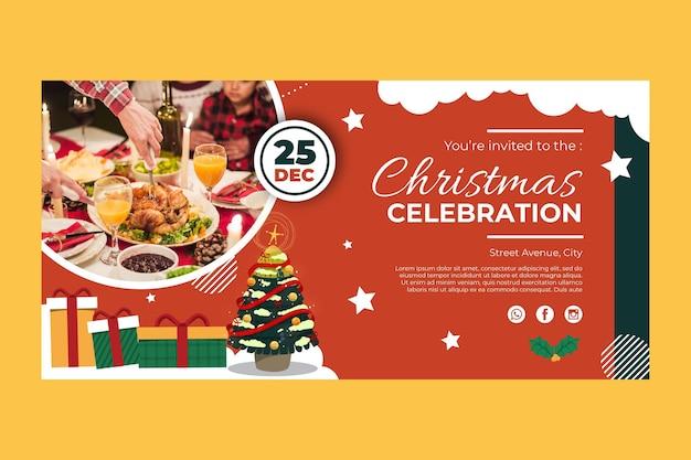 Праздничный рождественский баннер шаблон Бесплатные векторы