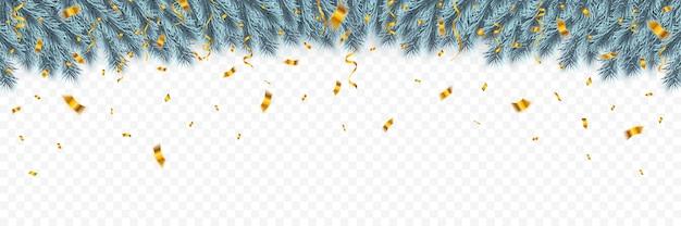 お祝いのクリスマス紙吹雪とクリスマスのモミの木の枝。