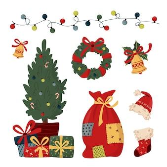 Праздничная коллекция элементов рождественского клипарт. рождественский венок, украшенный елкой с подарочными коробками, подарочный носок, новогодняя шапка, гирлянда, сумка с подарками.