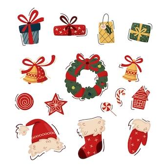 Праздничная коллекция элементов рождественского клипарт. рождественский венок, шапка санты, подарочный носок, колокольчики, печенье и леденцы, украшенные подарочные коробки.