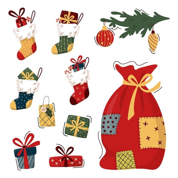 Праздничная коллекция элементов рождественского клипарт в модном плоском стиле. подарочные коробки, подарочные носки с подарками, новогодний мешок, украшенная еловая ветка.