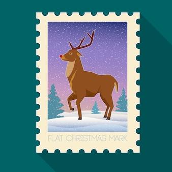 Праздничная рождественская плоская марка с оленями и зимним пейзажем на темно-бирюзовом фоне