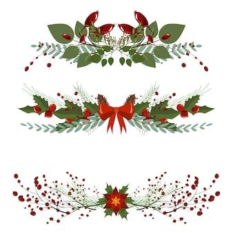 Festive christmas garland frame divider