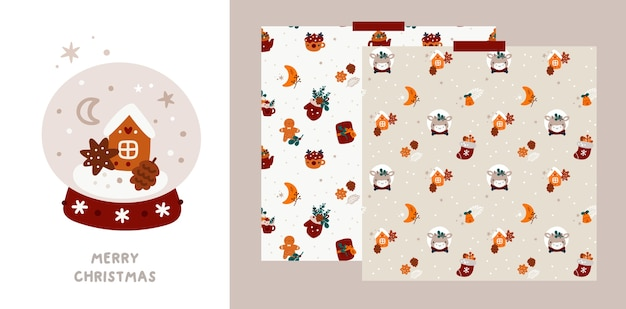 Festive christmas or happy new year greeting card and pattern