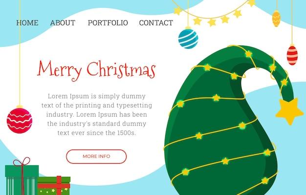抽象的なクリスマスツリーとお祝いのクリスマスのランディングページテンプレート。ベクトルイラスト。