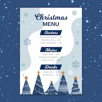 Festive christmas menu template