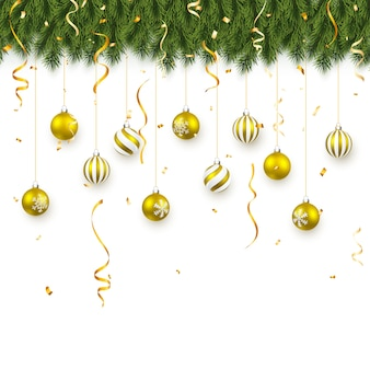Festive christmas or new year background. christmas fir-tree branches with confetti and xmas gold balls. holiday's background.