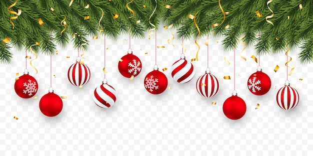 Festive christmas or new year background. christmas fir-tree branches with confetti and xmas red balls. holiday's background.