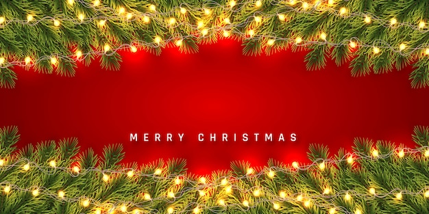 Festive christmas or new year background. christmas fir-tree branches with light garland. holiday's background.