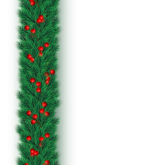 Festive christmas or new year background. christmas tree branches with holly berries. holiday's background.