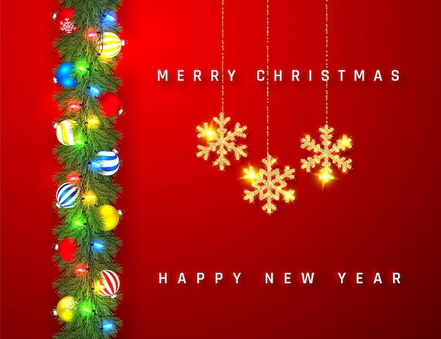Festive christmas or new year garland. christmas tree branches. holiday's background.