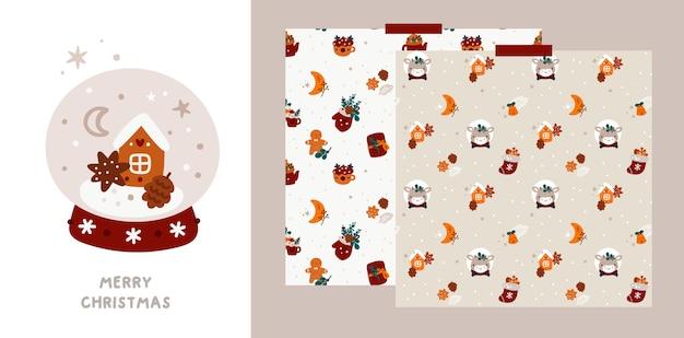 Праздничная рождественская или с новым годом поздравительная открытка и узор