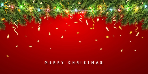 お祝いのクリスマスや新年の背景。紙吹雪と軽い花輪が付いているクリスマスのモミの木の枝。休日の背景。