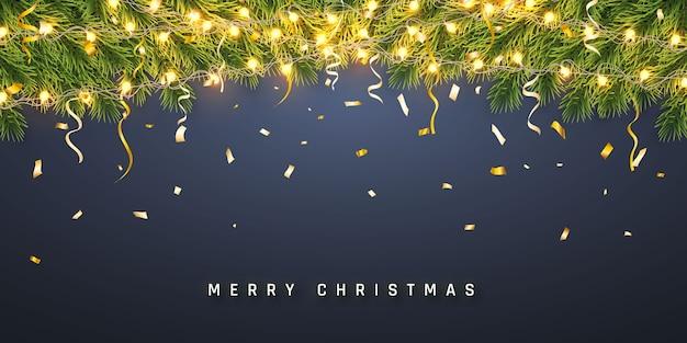 Праздничный фон рождество или новый год. рождественские еловые ветки с конфетти и легкой гирляндой. фон праздника.