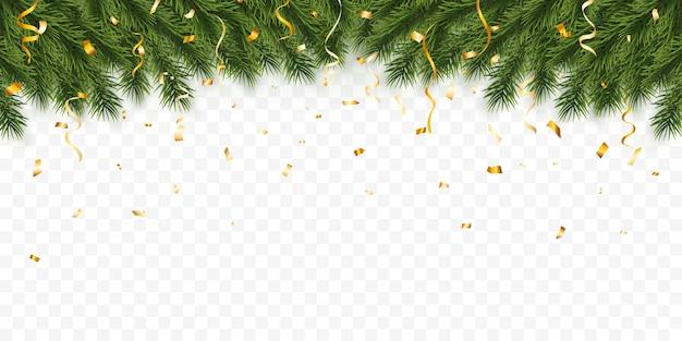 お祝いのクリスマスや新年の背景。紙吹雪とクリスマスのモミの木の枝。休日の背景。