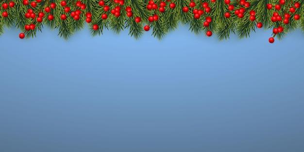 お祝いのクリスマスや新年の背景。ヒイラギの果実とクリスマスツリーの枝。休日の背景。ベクトルイラスト。