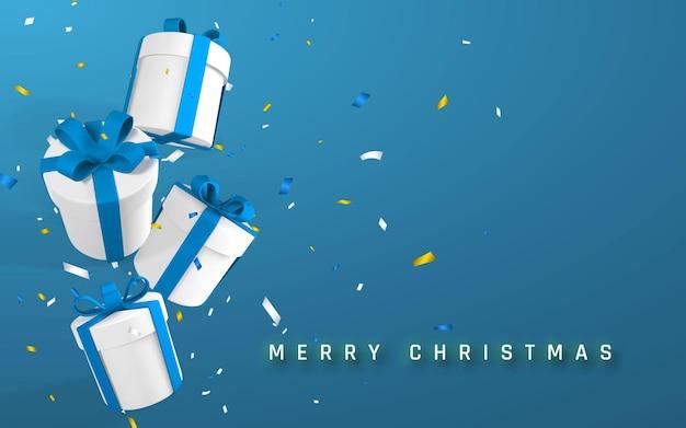 Праздничный рождественский или новогодний фон с 3d реалистичными бумажными белыми подарочными коробками с голубой лентой и бантом. бумажные коробки падают с конфетти. векторная иллюстрация.