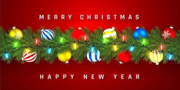 お祝いのクリスマスまたは新年のガーランド。クリスマスツリーの枝。休日の背景。