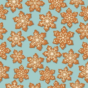 Festive christmas seamless pattern with gingerbread stars