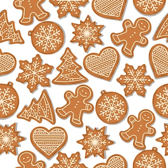 Festive christmas seamless pattern with gingerbread