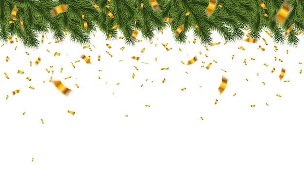 紙吹雪とお祝いのクリスマスツリーの枝。休日のイラスト。