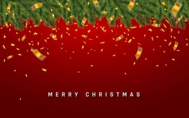紙吹雪とお祝いのクリスマスツリーの枝。メリークリスマスのイラスト。